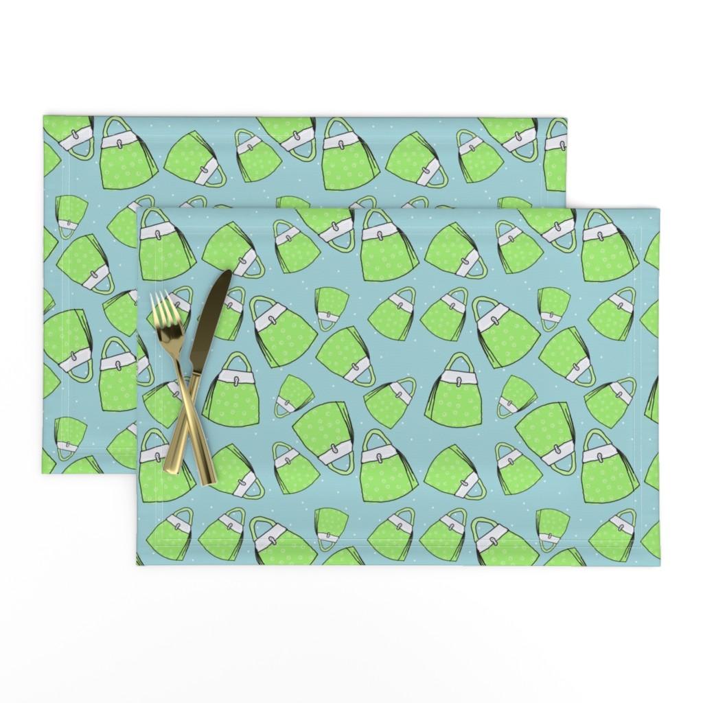 Lamona Cloth Placemats featuring Purses - lime on aqua by designergal