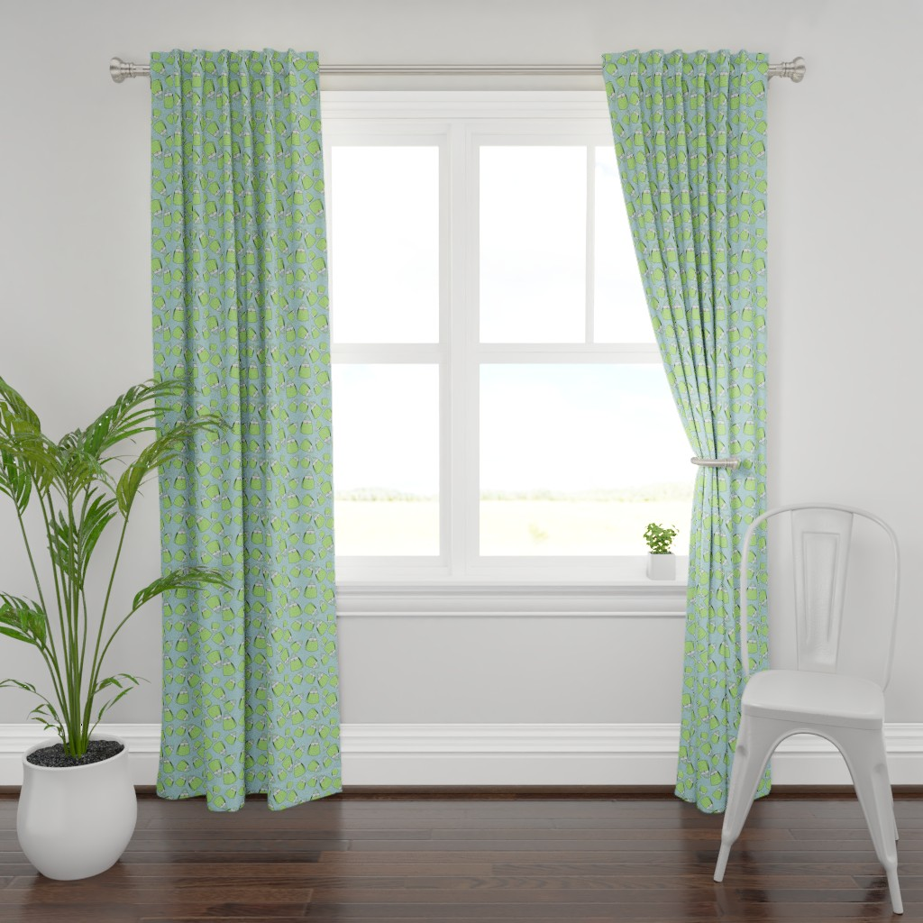 Plymouth Curtain Panel featuring Purses - lime on aqua by designergal