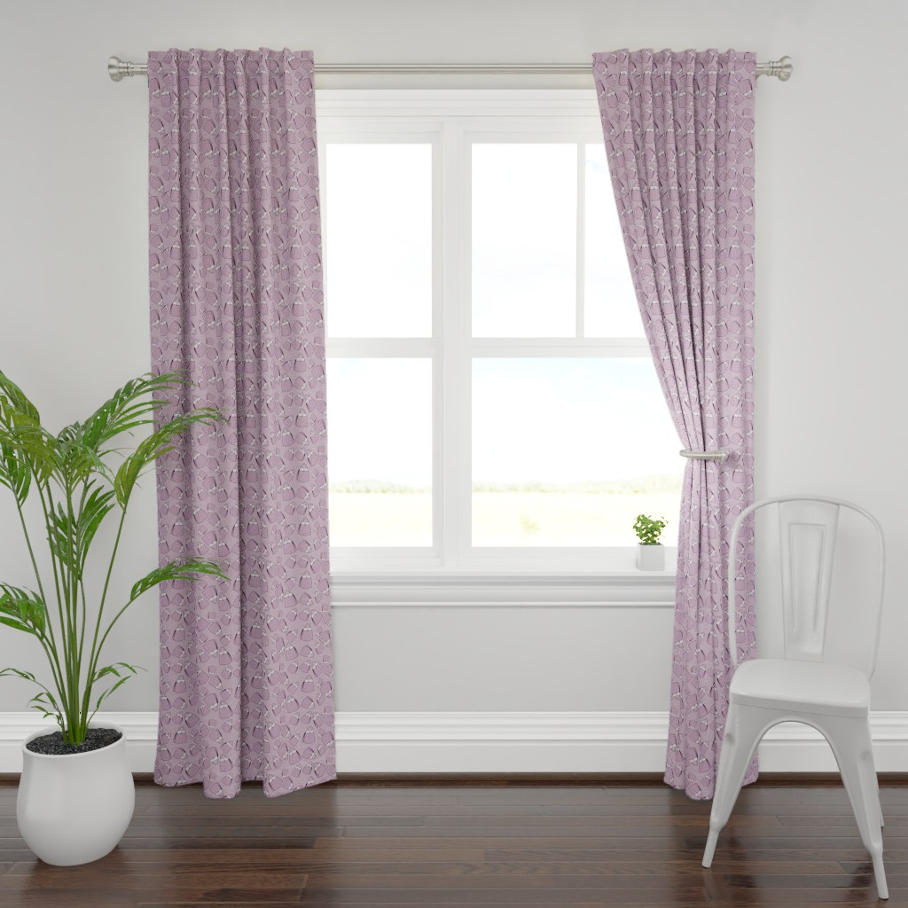 Plymouth Curtain Panel featuring Purses - lavender mono by designergal