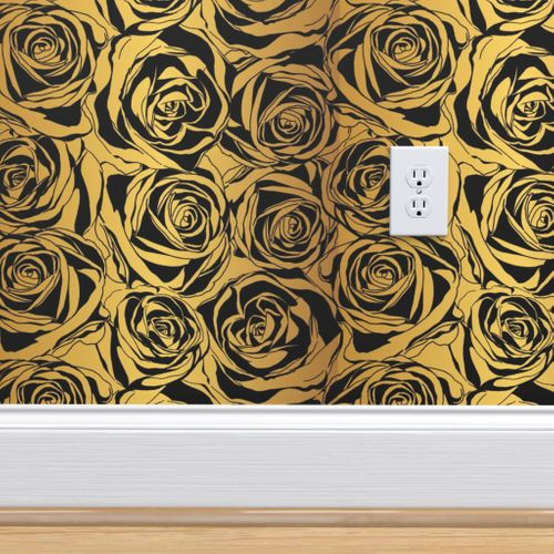 Wallpaper Gold And Black Rose Pattern