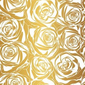 Gold and white rose pattern