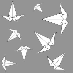 Origami Peace Cranes, Grey