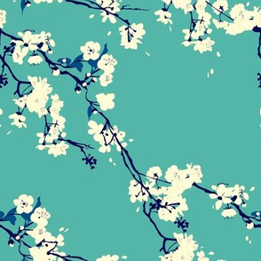 Cherry Blossoms in Aqua // Modern Japanese floral pattern by Zoe Charlotte