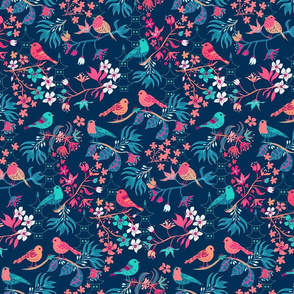 Birds and Blossom Dark Blue