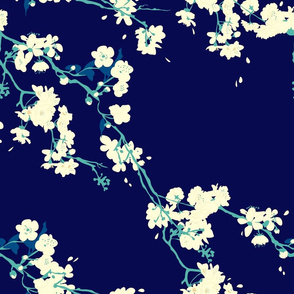 Cherry Blossoms in Navy // Modern Japanese floral pattern by Zoe Charlotte