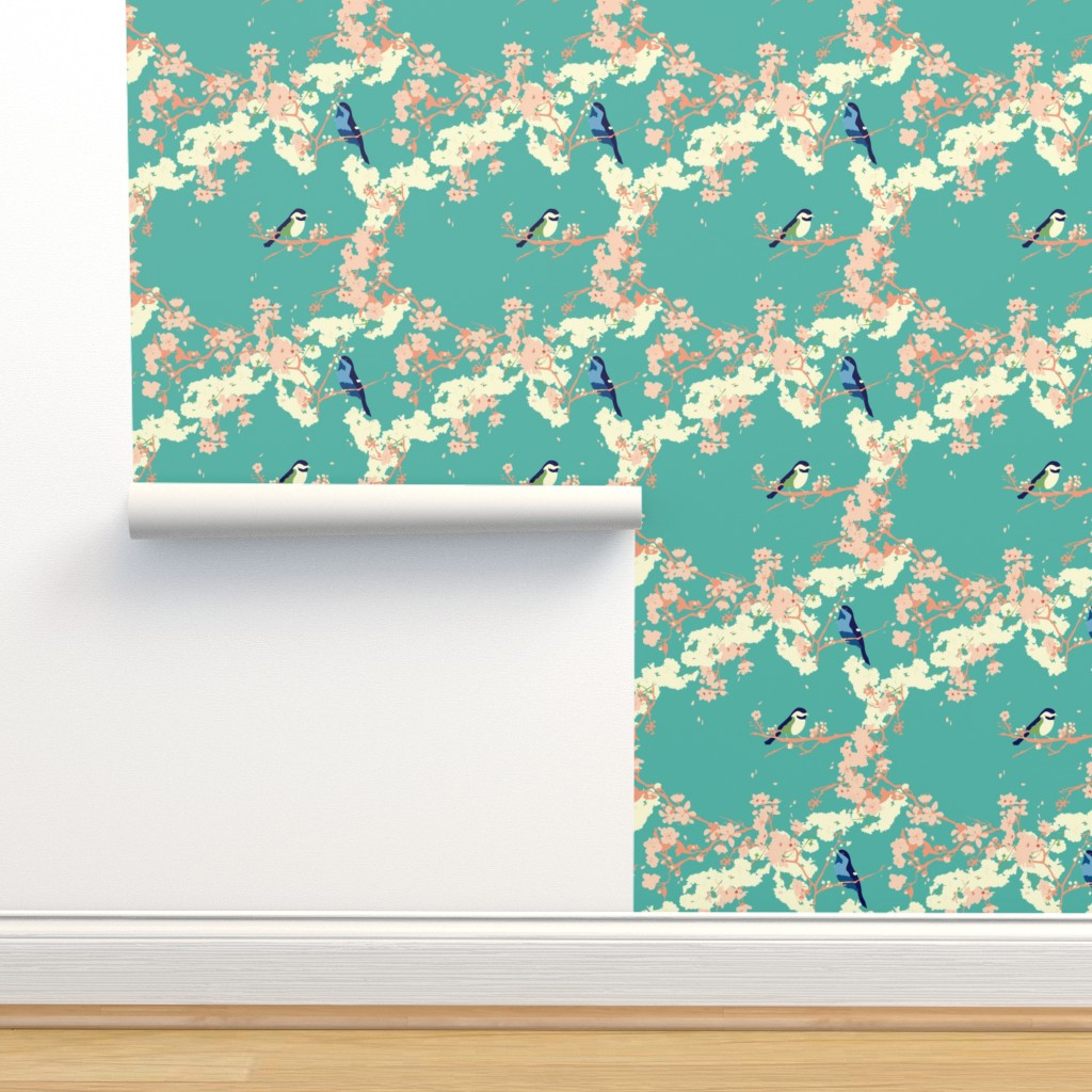 Birds And Blossoms In Aqua On Isobar By Zoecharlotte Roostery