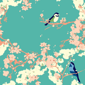 Birds and Blossoms in Aqua // Modern Japanese floral pattern by Zoe Charlotte