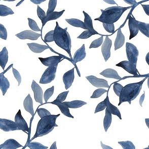 Indigo Swirling Leaves - Watercolour pattern