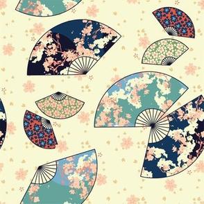 Fan Dance in Cream // Modern Japanese floral pattern by Zoe Charlotte