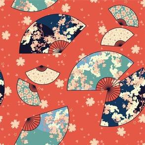 Fan Dance in Vermillion // Modern Japanese floral pattern by Zoe Charlotte