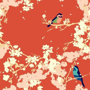 Birds and Blossoms in Vermillion // Modern Japanese floral pattern by Zoe Charlotte