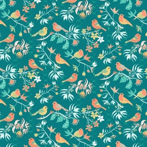 Birds and Blossom Teal