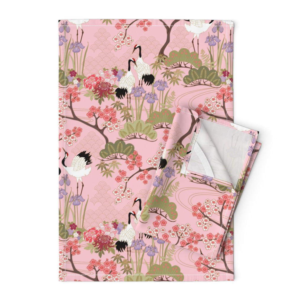Orpington Tea Towels featuring gueth_japanese_garden_pink by juditgueth