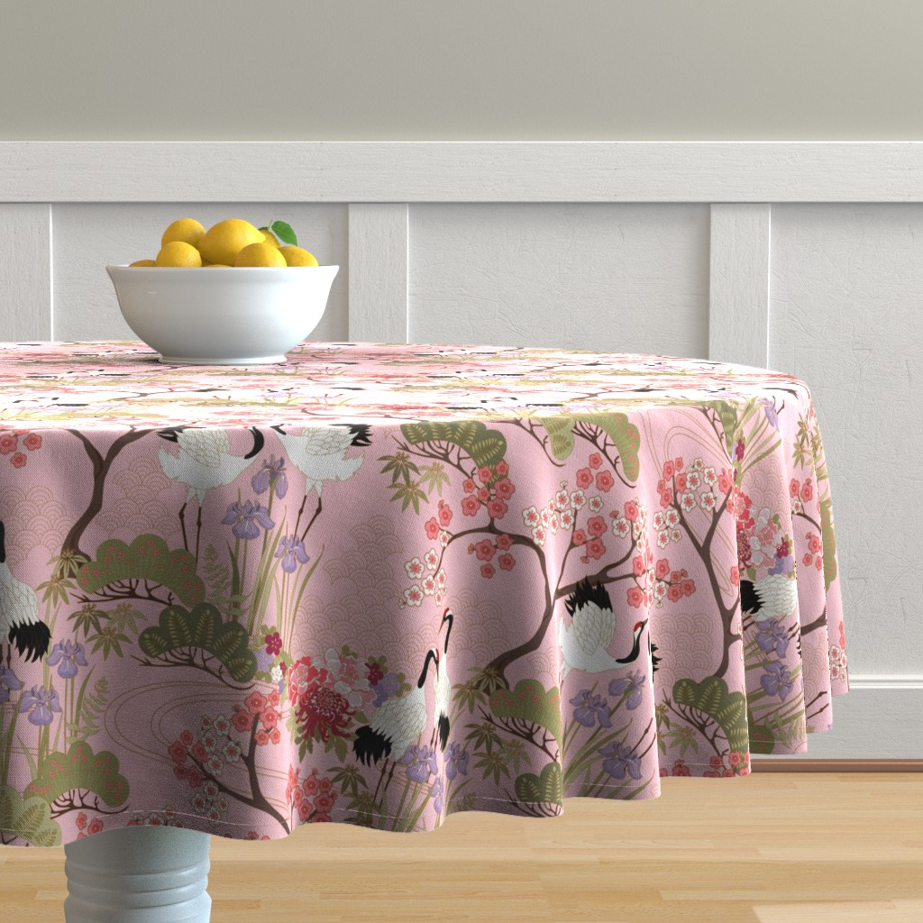 Malay Round Tablecloth featuring gueth_japanese_garden_pink by juditgueth