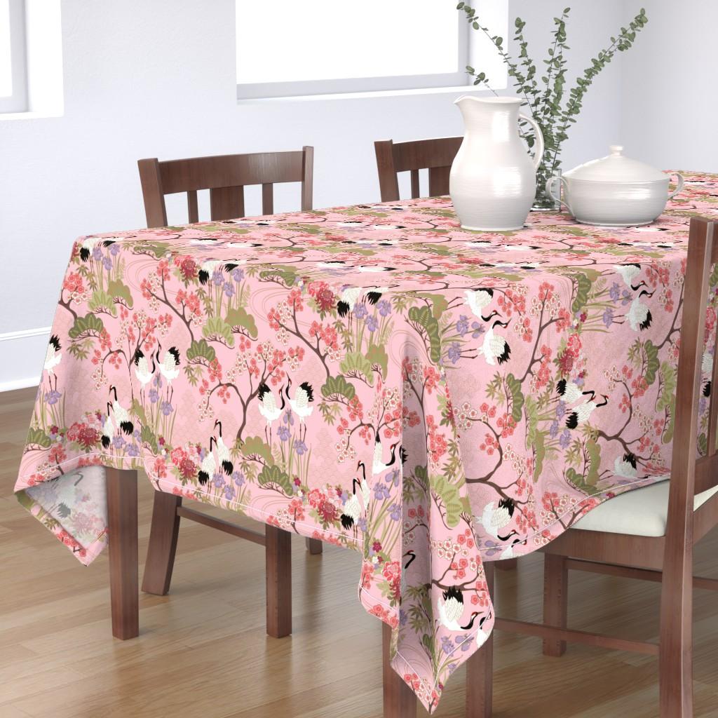 Bantam Rectangular Tablecloth featuring gueth_japanese_garden_pink by juditgueth