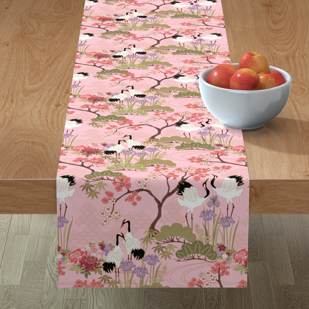 Minorca Table Runner featuring gueth_japanese_garden_pink by juditgueth