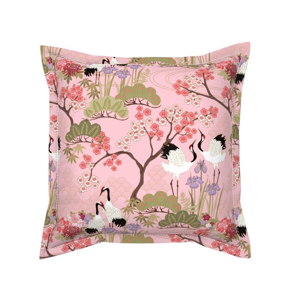 Serama Throw Pillow featuring gueth_japanese_garden_pink by juditgueth