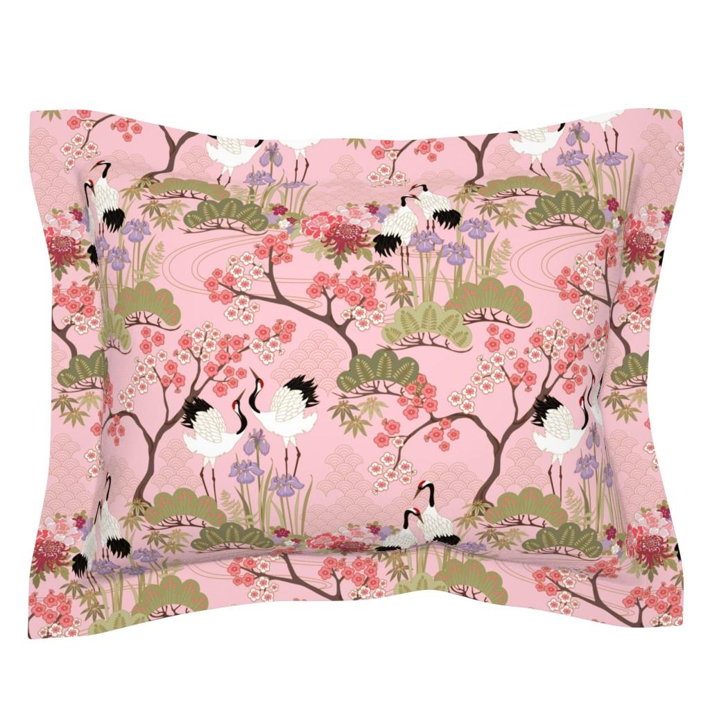 Sebright Pillow Sham featuring gueth_japanese_garden_pink by juditgueth