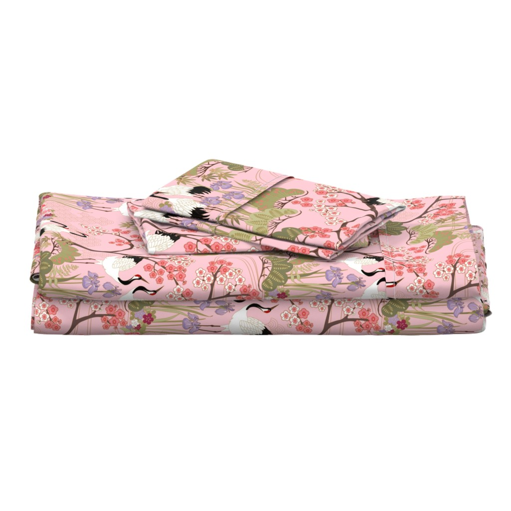 Langshan Full Bed Set featuring gueth_japanese_garden_pink by juditgueth