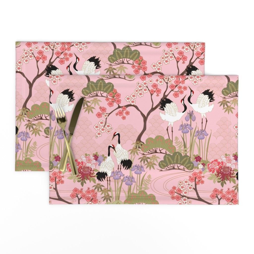 Lamona Cloth Placemats featuring gueth_japanese_garden_pink by juditgueth
