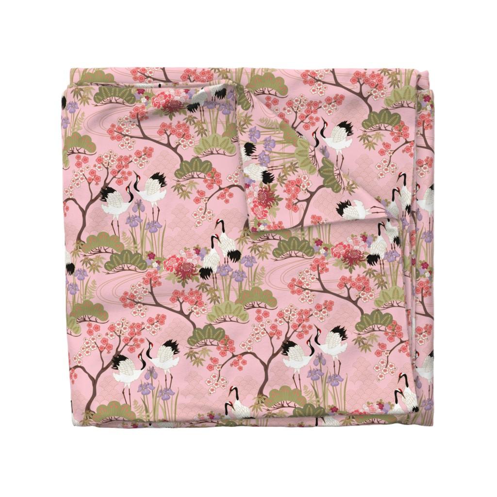 Wyandotte Duvet Cover featuring gueth_japanese_garden_pink by juditgueth