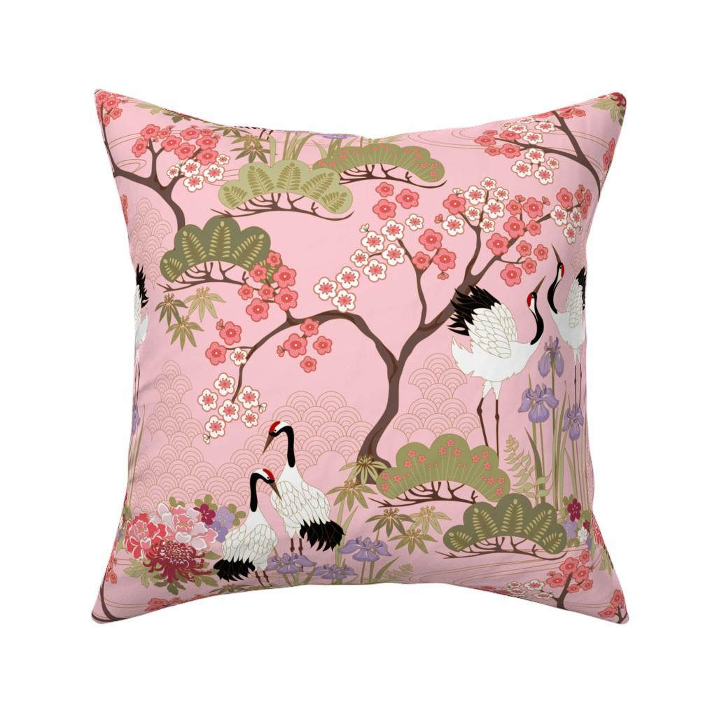 Catalan Throw Pillow featuring gueth_japanese_garden_pink by juditgueth