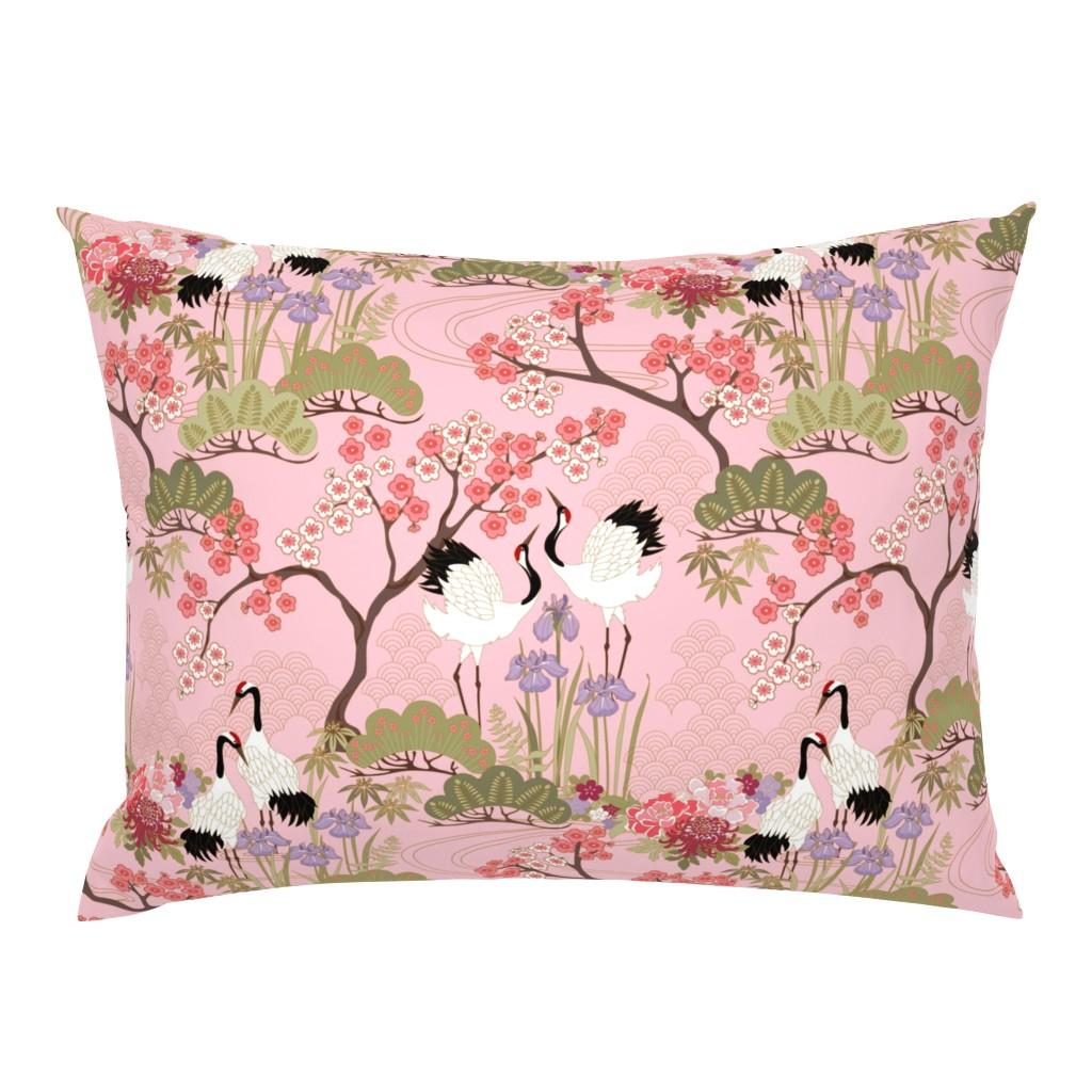 Campine Pillow Sham featuring gueth_japanese_garden_pink by juditgueth