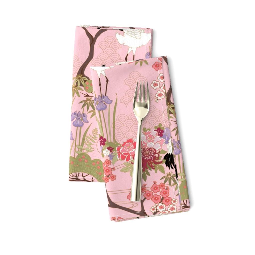 Amarela Dinner Napkins featuring gueth_japanese_garden_pink by juditgueth