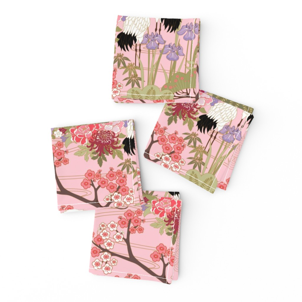 Frizzle Cocktail Napkins featuring gueth_japanese_garden_pink by juditgueth