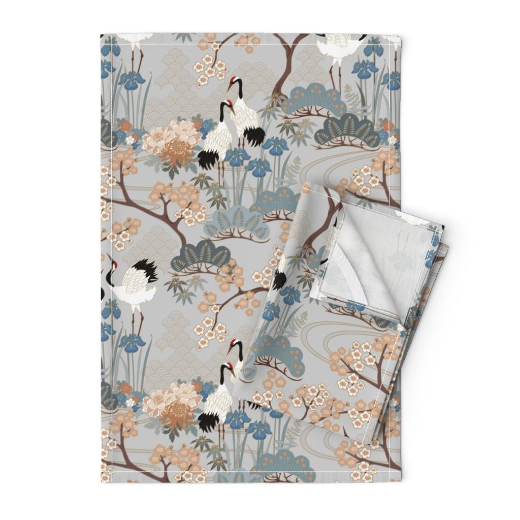 Orpington Tea Towels featuring gueth_japanese_garden_gray by juditgueth