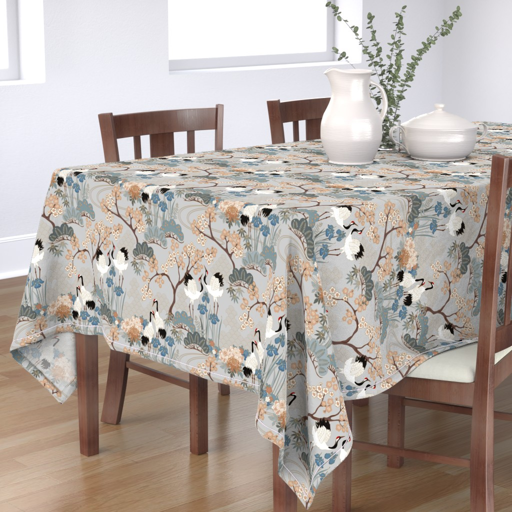 Bantam Rectangular Tablecloth featuring gueth_japanese_garden_gray by juditgueth