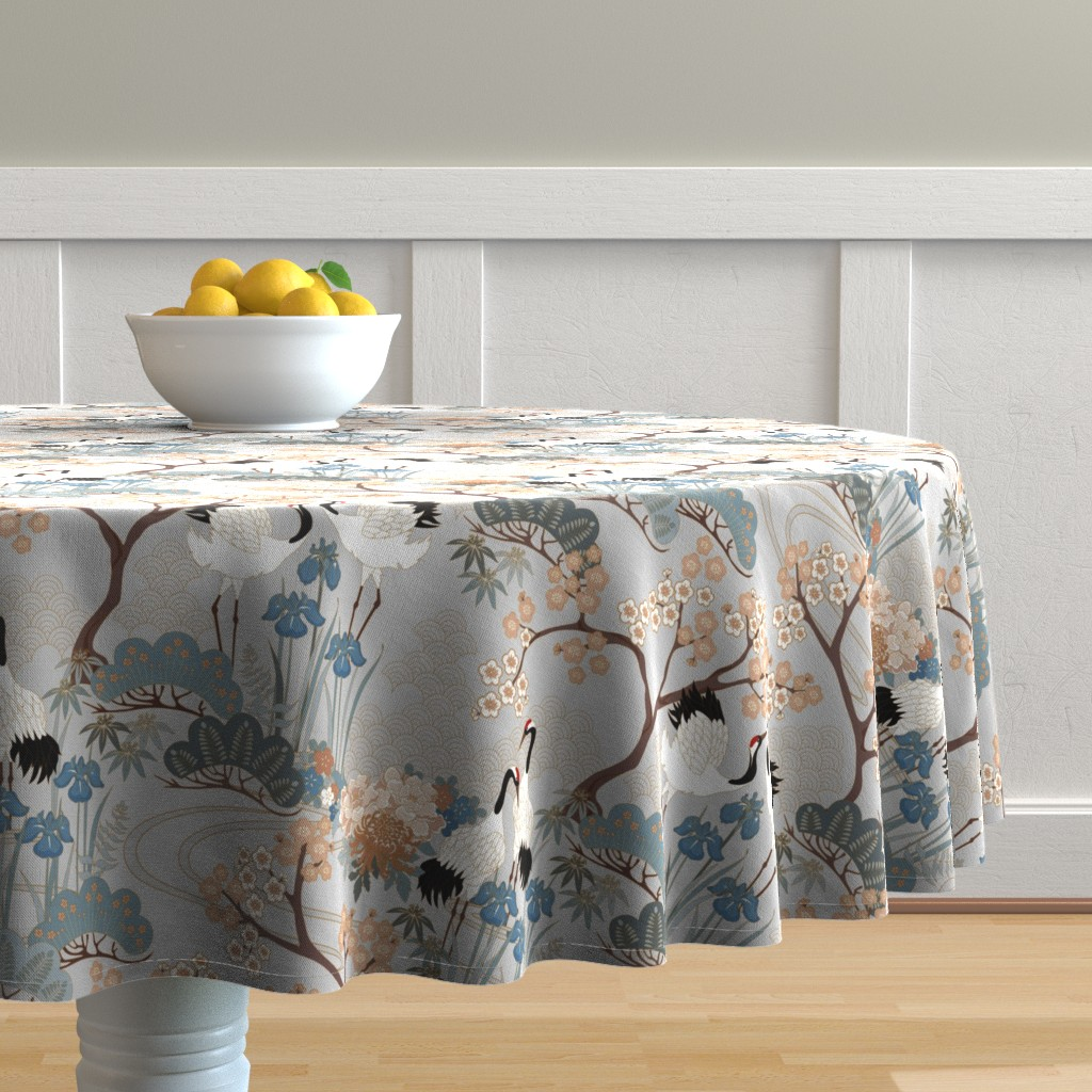 Malay Round Tablecloth featuring gueth_japanese_garden_gray by juditgueth