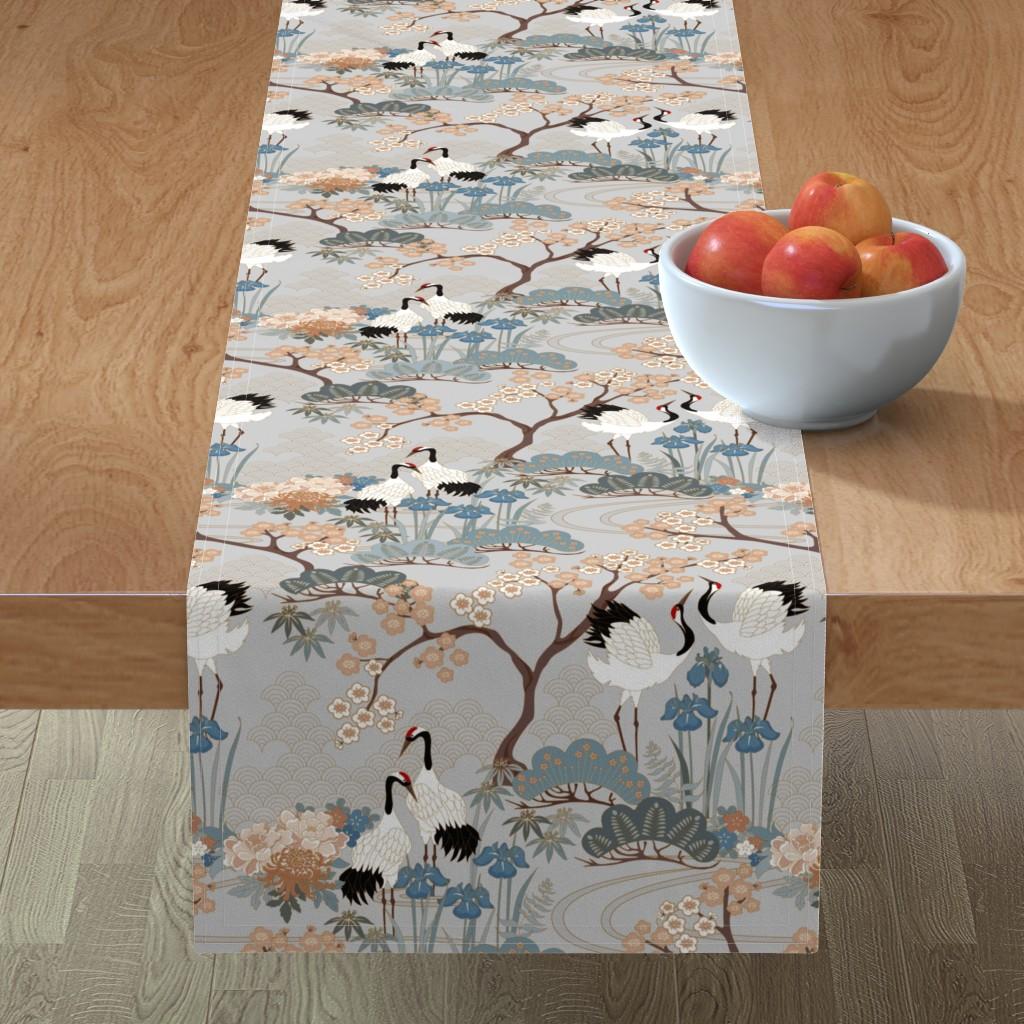 Minorca Table Runner featuring gueth_japanese_garden_gray by juditgueth