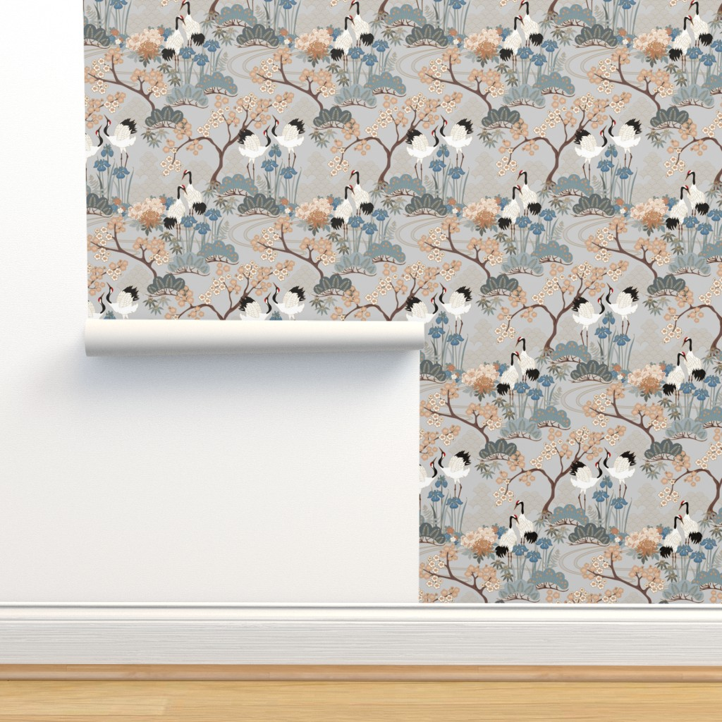 Isobar Durable Wallpaper featuring gueth_japanese_garden_gray by juditgueth