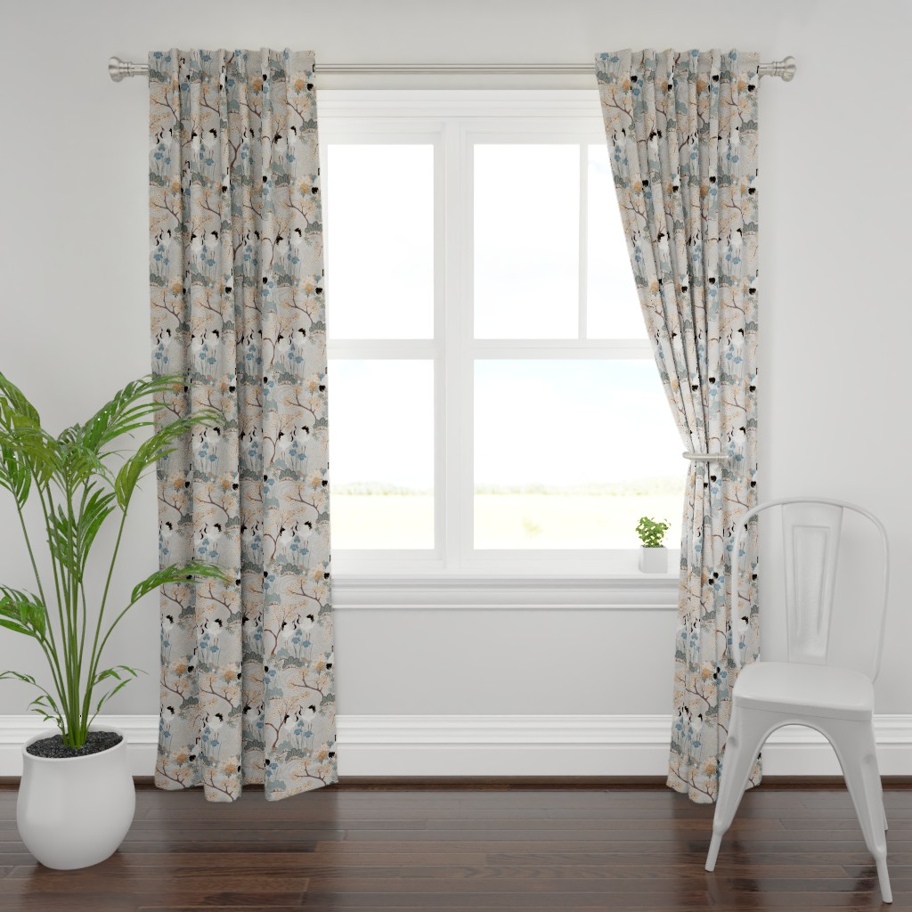 Plymouth Curtain Panel featuring gueth_japanese_garden_gray by juditgueth