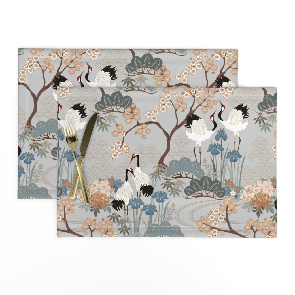 Lamona Cloth Placemats featuring gueth_japanese_garden_gray by juditgueth