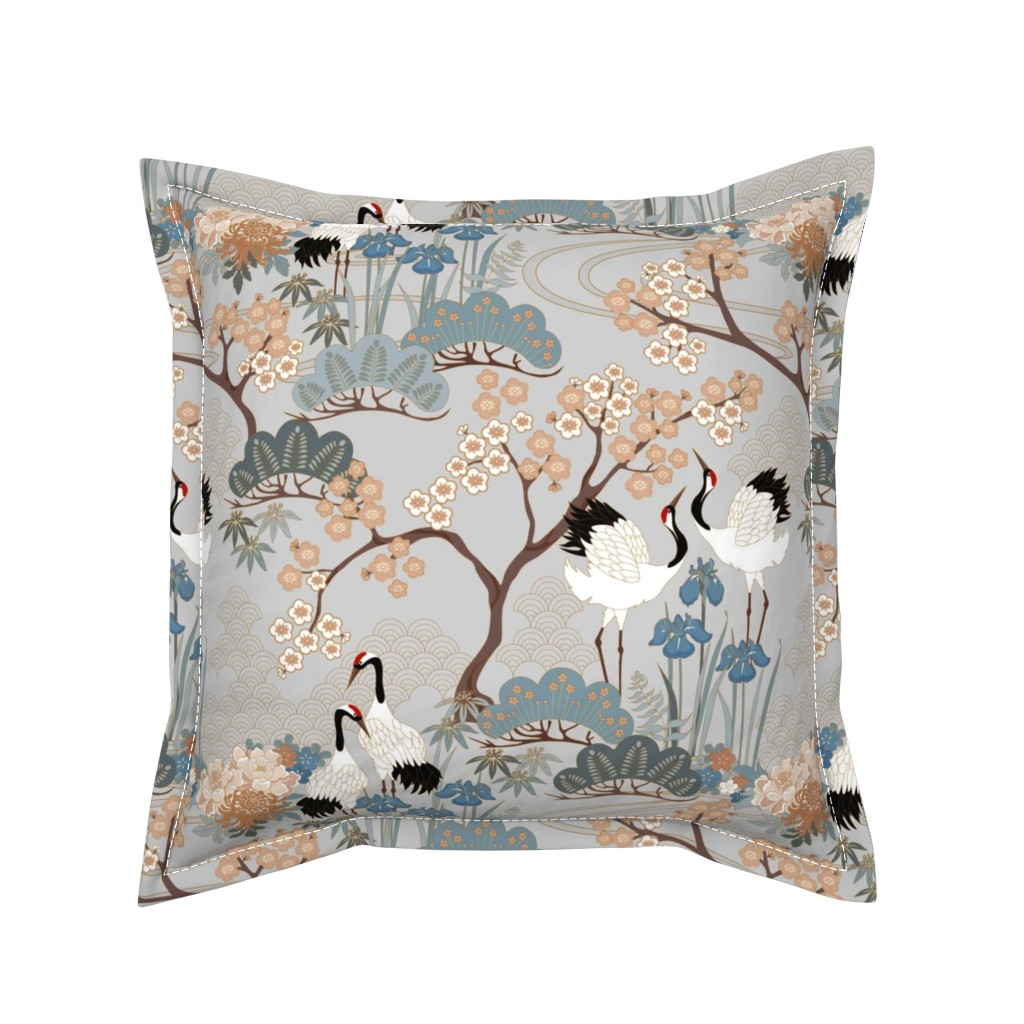 Serama Throw Pillow featuring gueth_japanese_garden_gray by juditgueth