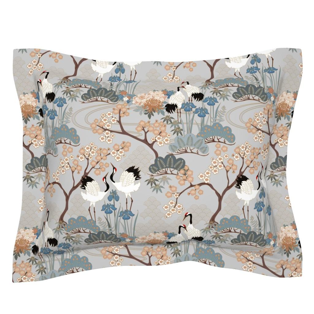 Sebright Pillow Sham featuring gueth_japanese_garden_gray by juditgueth