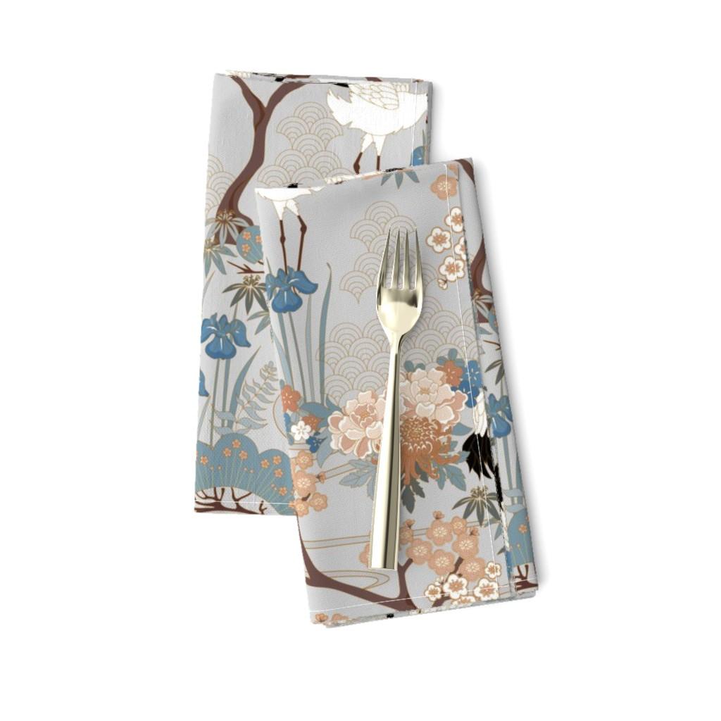 Amarela Dinner Napkins featuring gueth_japanese_garden_gray by juditgueth