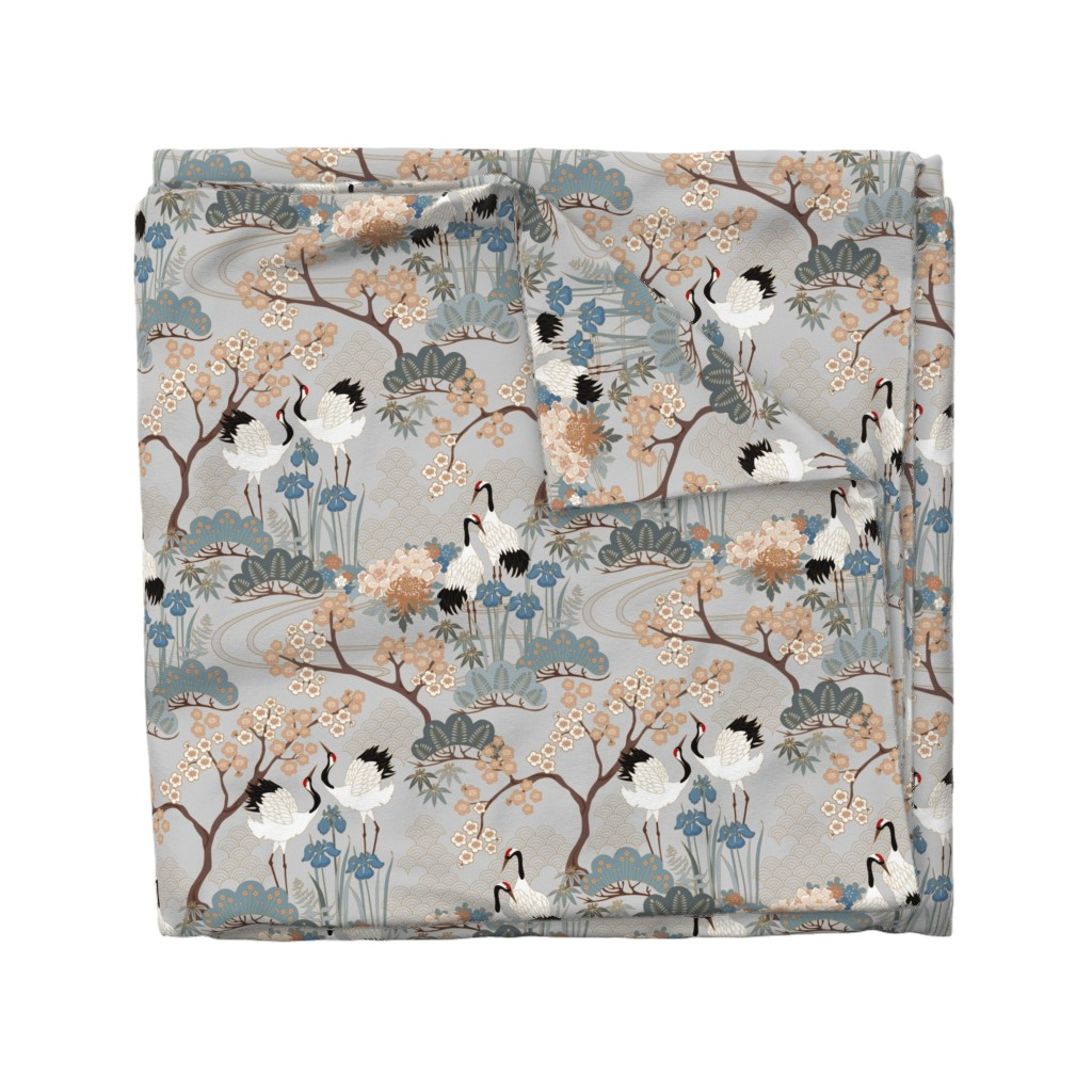 Wyandotte Duvet Cover featuring gueth_japanese_garden_gray by juditgueth