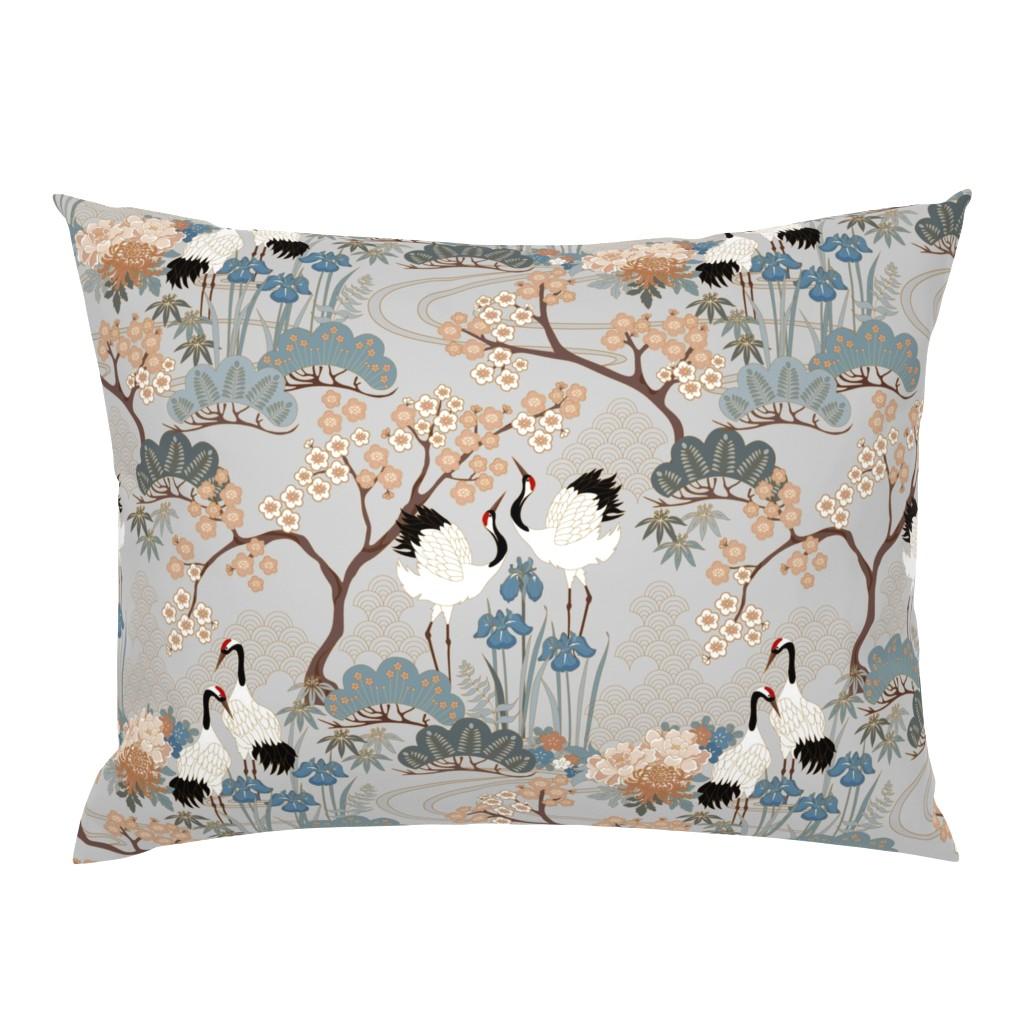 Campine Pillow Sham featuring gueth_japanese_garden_gray by juditgueth