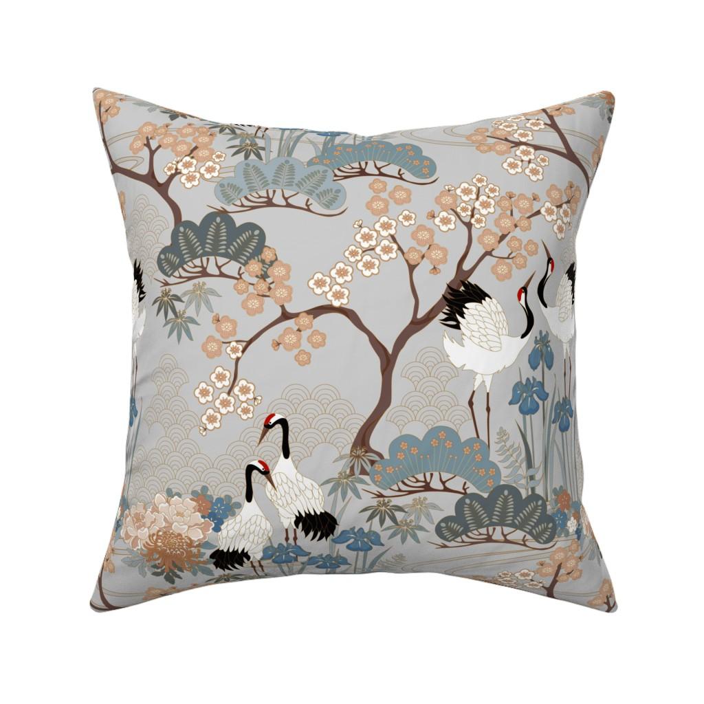 Catalan Throw Pillow featuring gueth_japanese_garden_gray by juditgueth