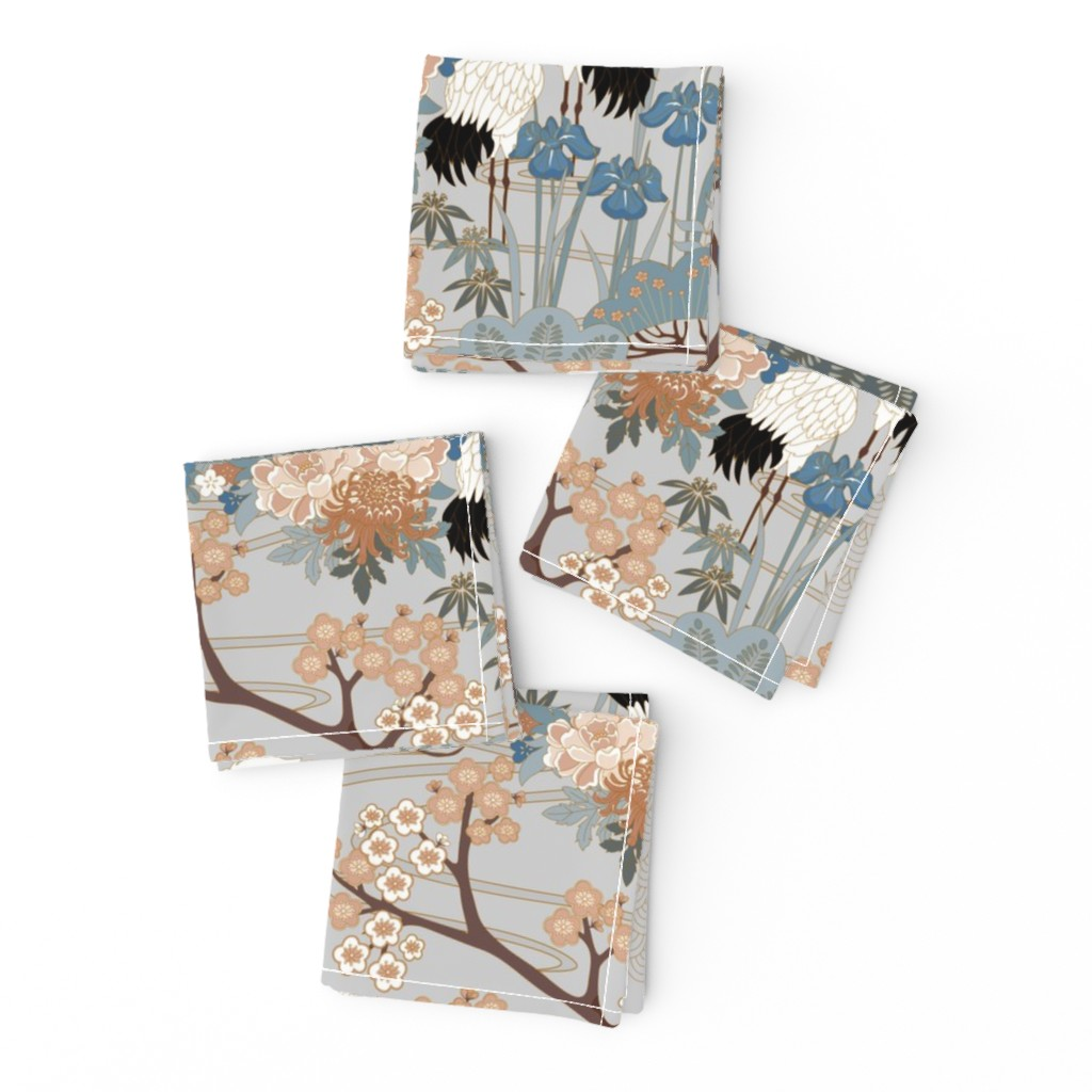 Frizzle Cocktail Napkins featuring gueth_japanese_garden_gray by juditgueth