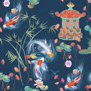 Japanese Water Garden Navy Spoonflower