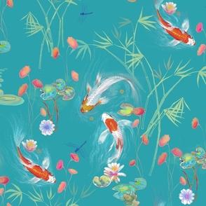 japanese water garden - teal