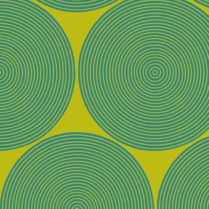 concentric circles - teal on yellow