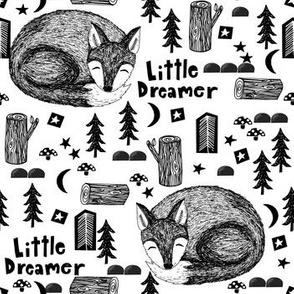 little dream // black and white sleeping fox cute baby nursery sweet black and white stars moon camping woodland fox