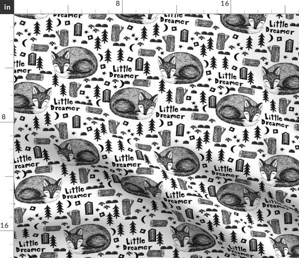 Colorful fabrics digitally printed by Spoonflower - little dream // black  and white sleeping fox cute baby nursery sweet black and white stars moon
