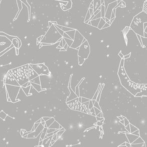Constellations // geometric animal star nursery light grey