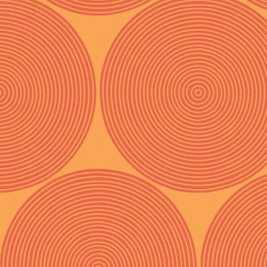 concentric circles - vermilion on orange